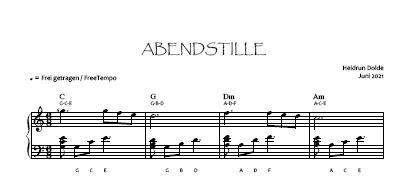 Noten-Vorschau Abendstille -  Heidrun Dolde - Bassschlüssel-Version