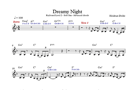 Screenshot Noten - Dreamy Night - Keyboard Advanced - Level 2