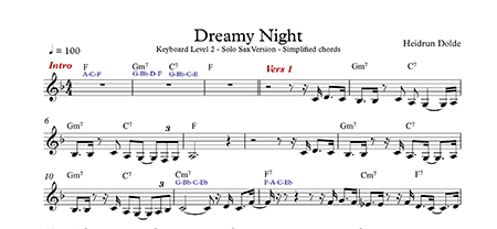 Screenshot Noten - Dreamy Night - Keyboard Simplified - Level 2